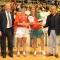 Le campionesse del beach volley femminile, le piemontesi Ilaria Fasano ed Elisa Fragonas premiate dal presidente della Fipav Carlo Magri