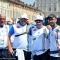 Marco Galiazzo, Michele Frangilli e Mauro Nespoli con il C.T. festeggiano il bronzo appena conquistato