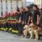 I pompieri schierati in piazza Castello