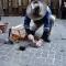 Gunter Demnig posa la pietra in via Stampatori